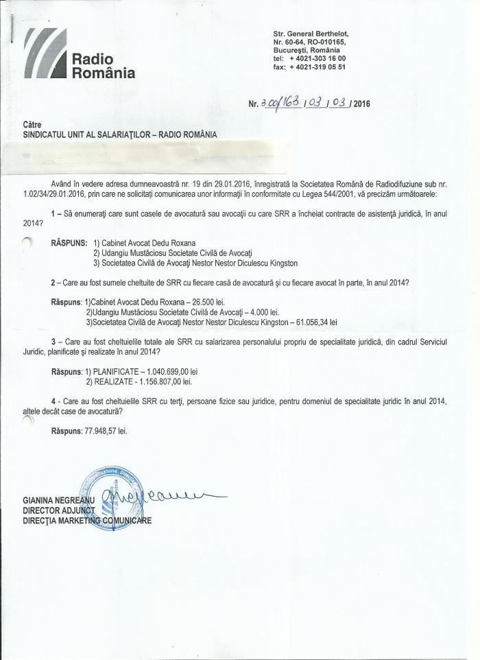 Raspuns SRR L544 chelt asist juridica 2014