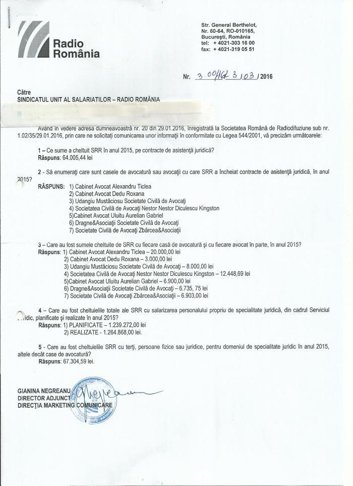 Raspuns SRR L544 chelt asist juridica 2015