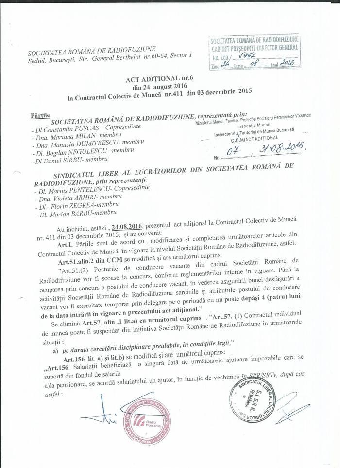 Act aditional nr 6 la CCM SRR