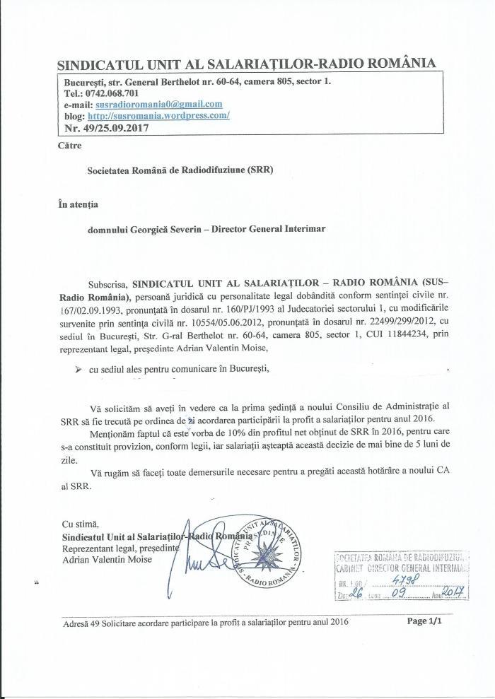 Adresa SUS 49 din 25 09 2017 catre SRR