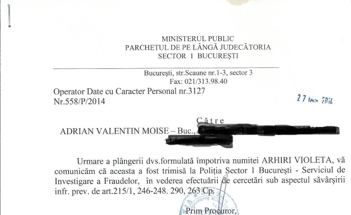 Dosar 558 P 2014 raspuns PJS1 Arhiri Violeta