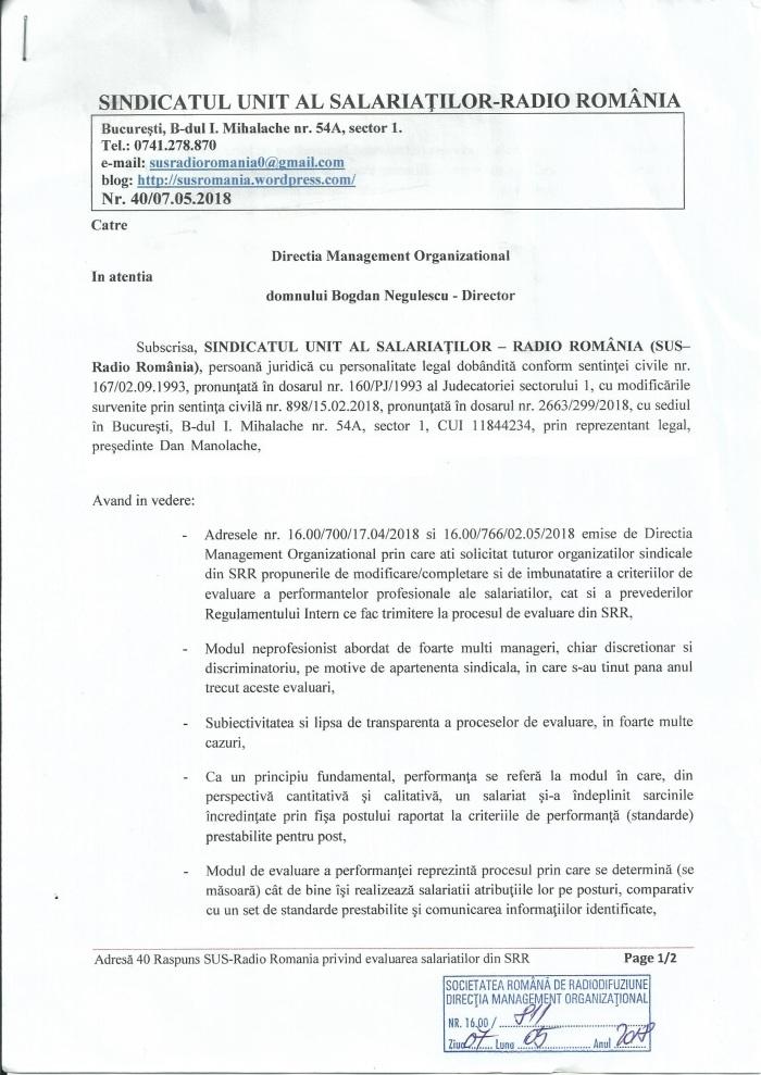 Adresa 40 din 7 mai 2018 ROI Regulam evaluare propuneri catre SRR pg1