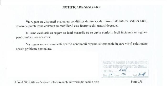 Notificare conditii de munca birouri in SRR extras
