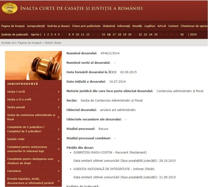Portal Inalta Curte dosar recurs Dobritoiu radu Costin 1