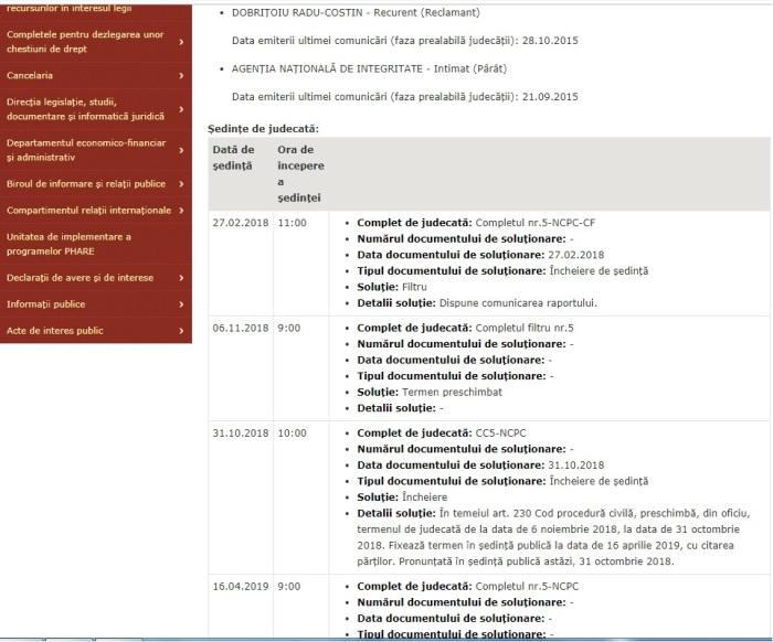 Portal Inalta Curte dosar recurs Dobritoiu radu Costin 2