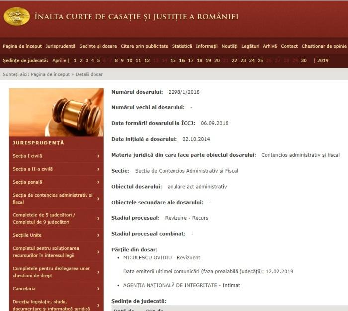 Portal Inalta Curte dosar revizuire Miculescu Ovidiu 1