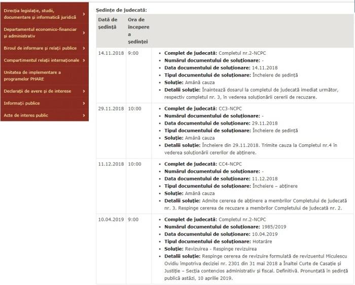 Portal Inalta Curte dosar revizuire Miculescu Ovidiu 2