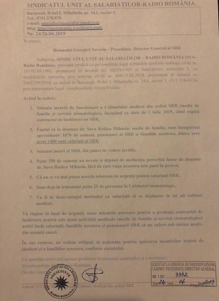 Adresa SUS RR solicitare rezolvare situatie Cabinet medical din sediul SRR