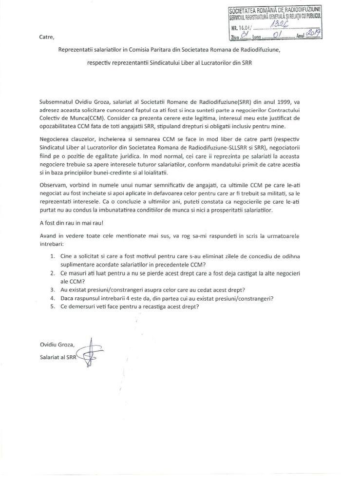 Solicitarea catre Comisia Paritara reprezentantii Sindicatului Liber