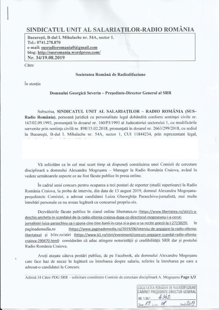 Solicitare cercetare disciplinara Mogosanu 1