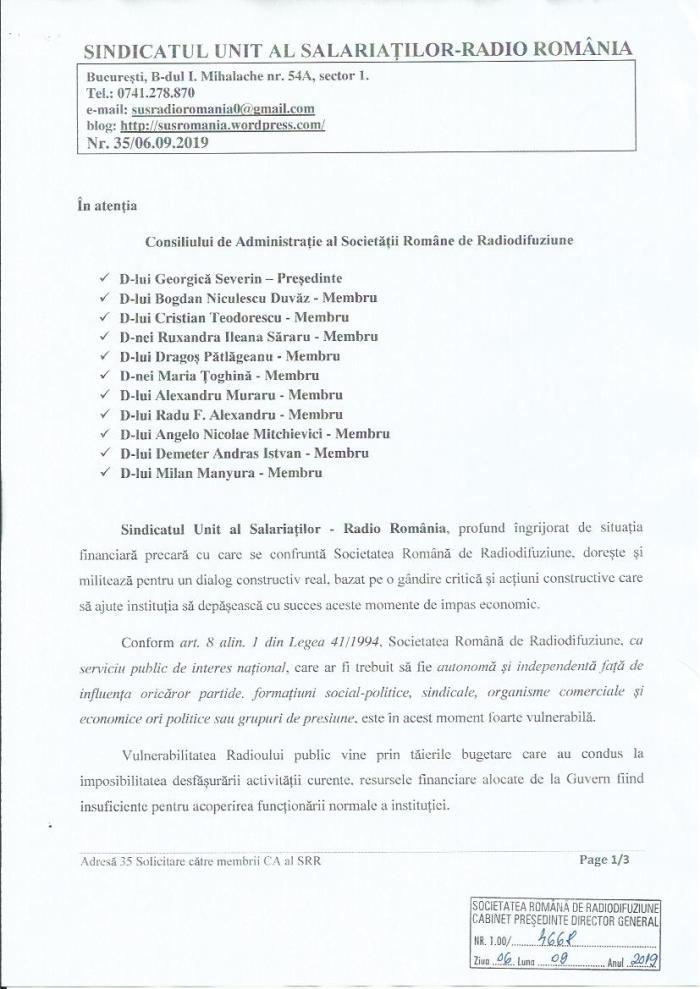 Solicitare catre membrii CA al SRR p1