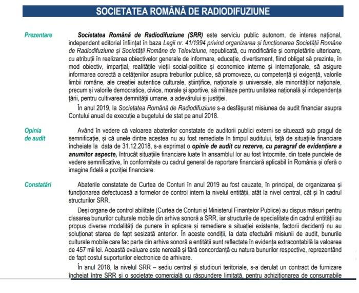 Extras Raport CCR la SRR 2018