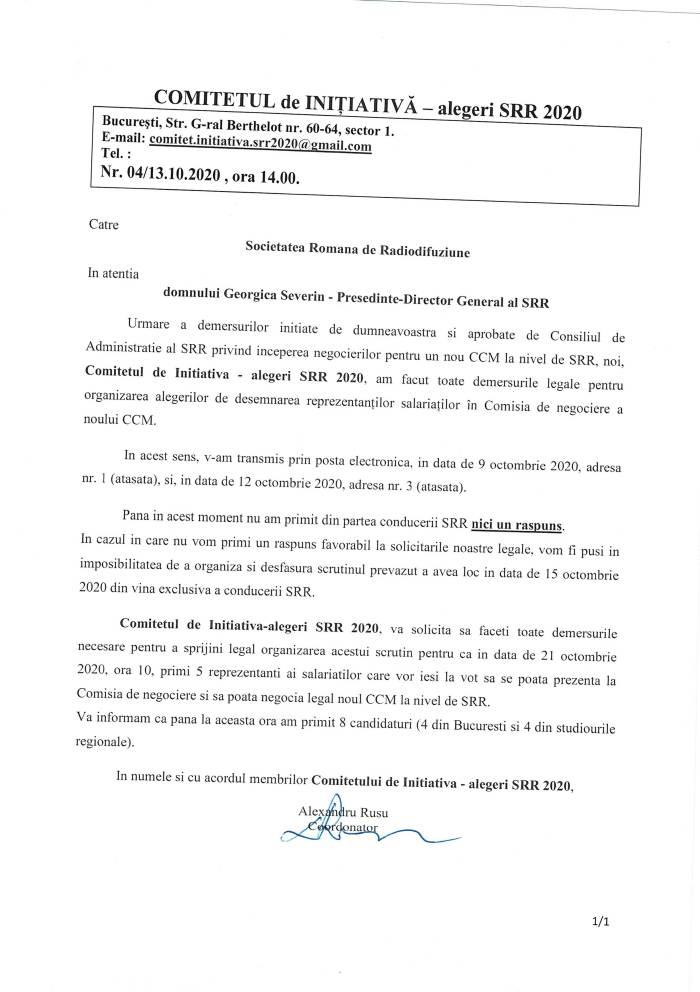 Adresa 4 Sesizare catre PDG din partea Comitetului de Initiativa-alegeri SRR 2020