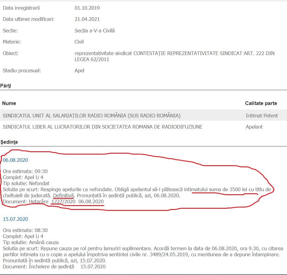 SUS RR vs SLSSRR Trib Buc dosar 36633 299 2017